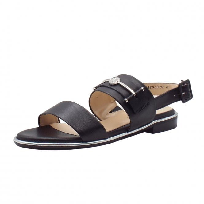 Runa Low Heel Open Sandals in Black