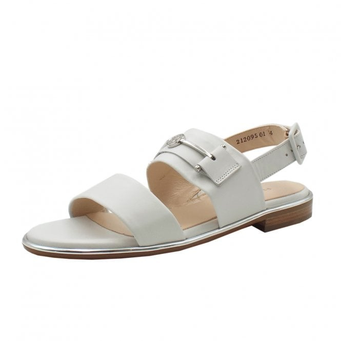 Runa Low Heel Open Sandals in White