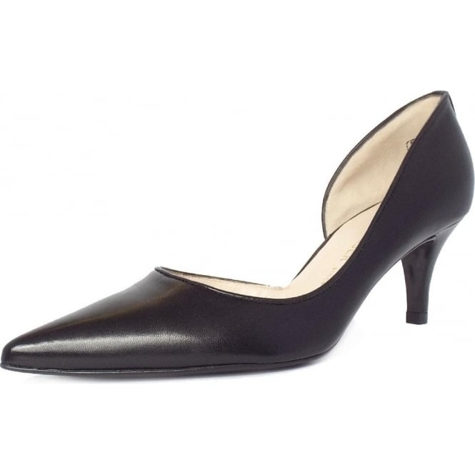 Sadin Black Leather Mid Heel Pointy Pumps