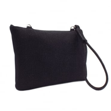 Saldina Black Shimmer Small Clutch Bag