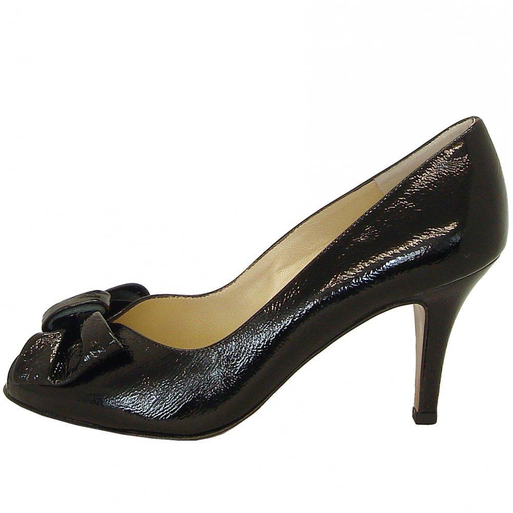 kaiser samos black crackle patent peep toe court