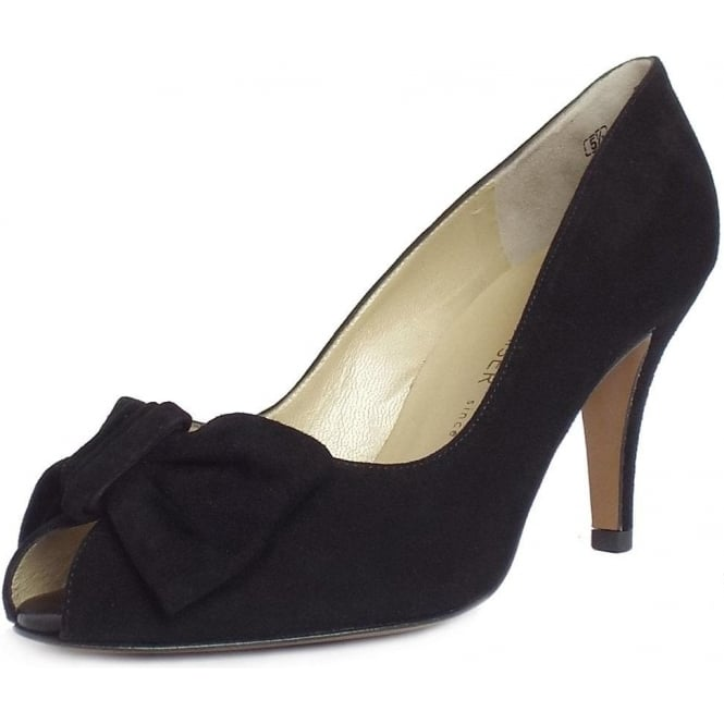 Samos Peep Toe Shoes in Black Suede