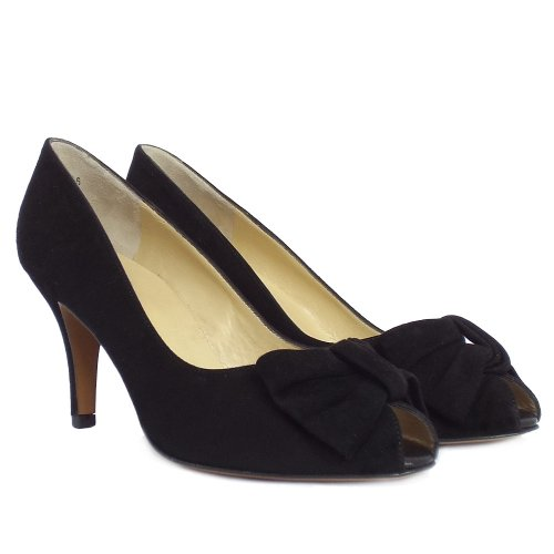 kaiser samos black suede peep toe evening shoes