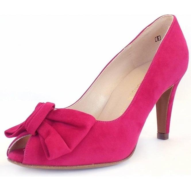 pink open toe pumps