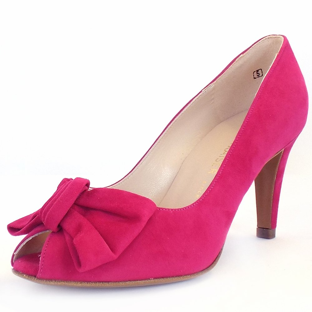 Peter Kaiser Samos | Turmalin Pink Suede Peep Toe Pumps With Bows