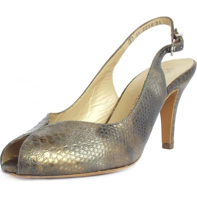 Sandrie Slingback Shoes in Croc Pewter
