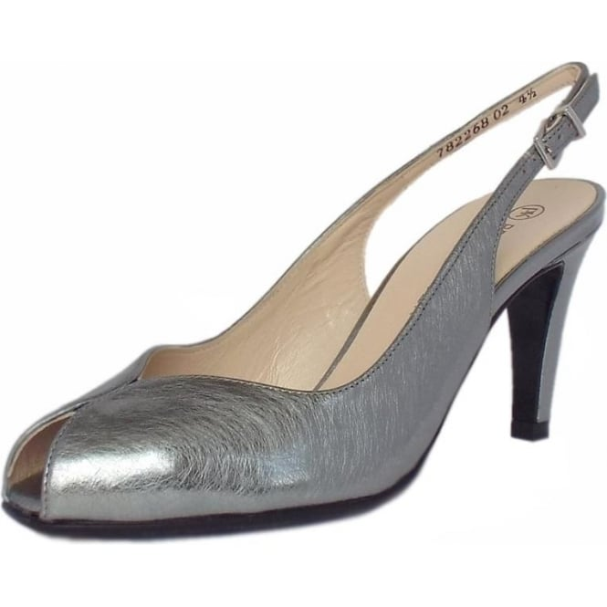 Sandrie Steel Graffiti Silver Brushed Effect Leather Slingback Peep Toe Sandals