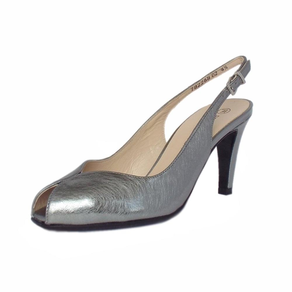 f18eecc57f86d Sandrie Steel Graffiti Silver Brushed Effect Leather Slingback Peep Toe  Sandals