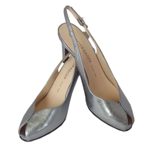 8df4ed4443d ... Sandrie Women s Peep Toe Slingback Shoes in Brushed Effect Steel Silver  Finish ...