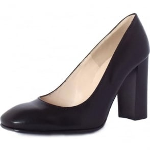 Sandy Black Leather Block Heel Pumps