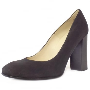 Sandy Carbon Suede Block Heel Pumps