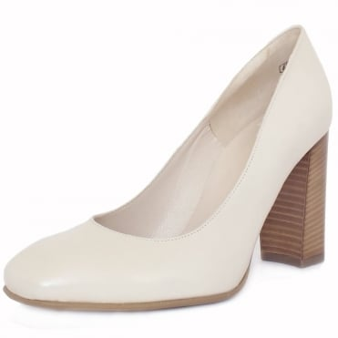 Sandy Lana Cream Leather Block Heel Pumps