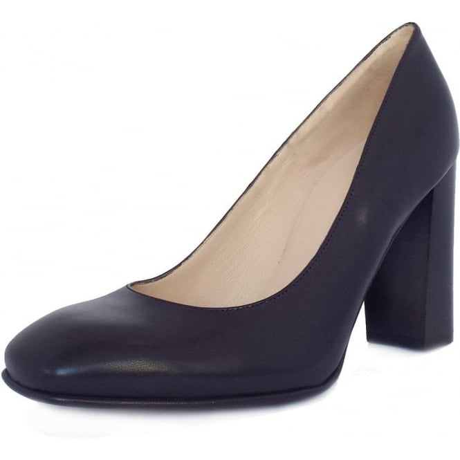 Sandy Navy Chevro Leather Block Heel Pumps