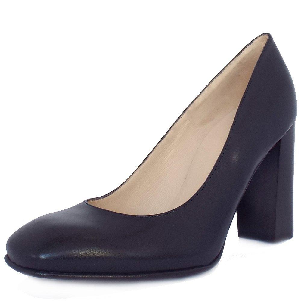 Navy Leather Court Shoes  Block Heel