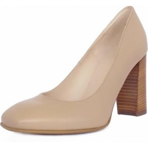 Sandy Sand Leather Trendy Block Heel Pumps