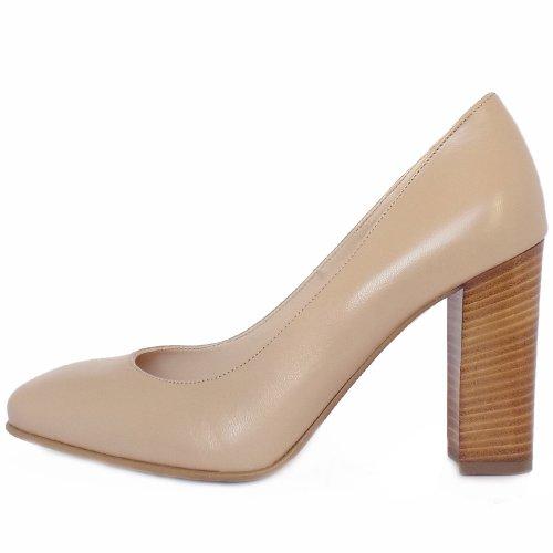 314638255cd ... Sandy Sand Leather Trendy Block Heel Pumps ...