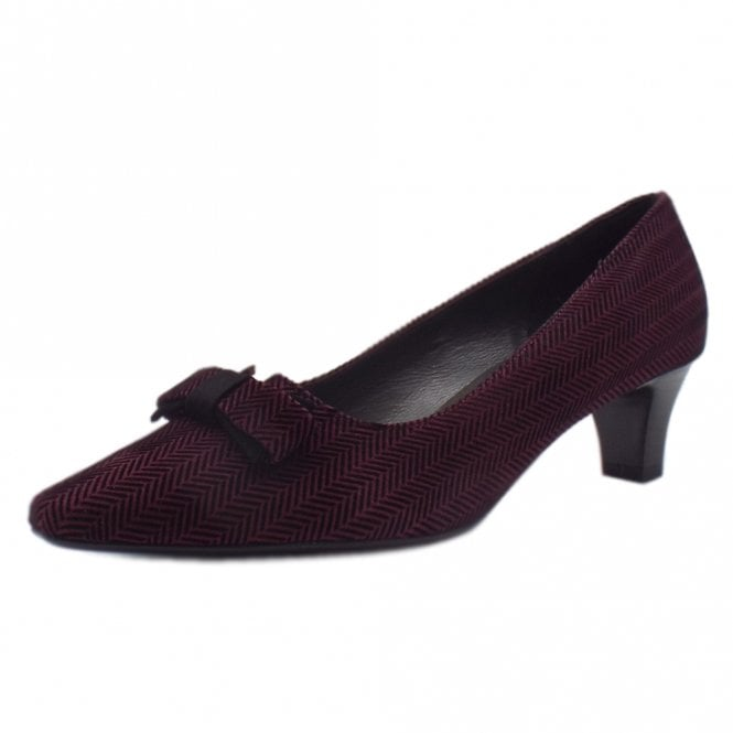 Saris Wide Fit Court Shoes With Bow In Cabernet Trama