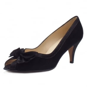 Satyr Black Lizard Suede Bow Trim Peep Toe Pumps