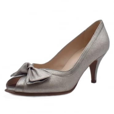 Satyr Multi Metallic Bow Trim Peep Toe Pumps
