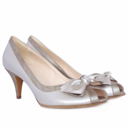 5634b8674a ... Satyr Women's Peep Toe Dressy Shoes in Multi Metallic Leather ...