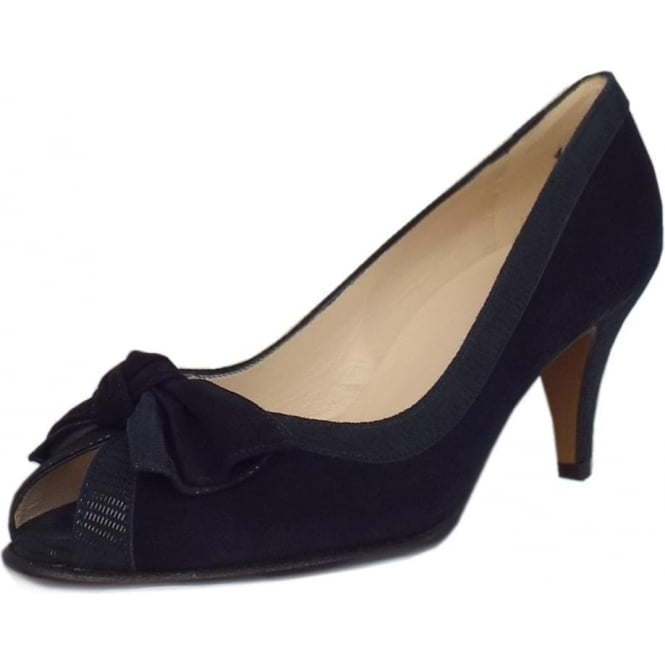 Satyr Navy Liz Notte Suede Bow Trim Peep Toe Pumps