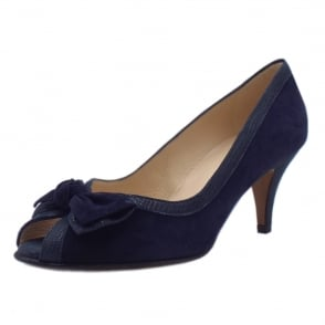 Satyr Navy Lizard / Notte Suede Bow Trim Peep Toe Pumps