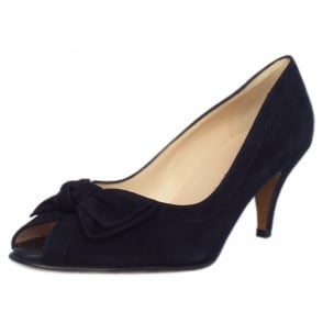 Satyr Notte Suede Bow Trim Peep Toe Pumps