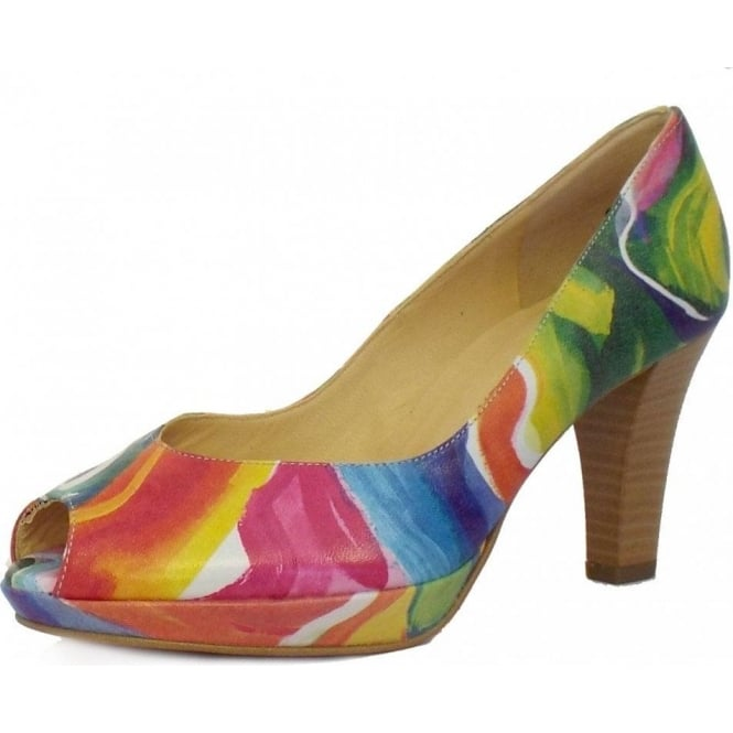 Selga Peep Toe Plus Fit Shoes in Multi Colour