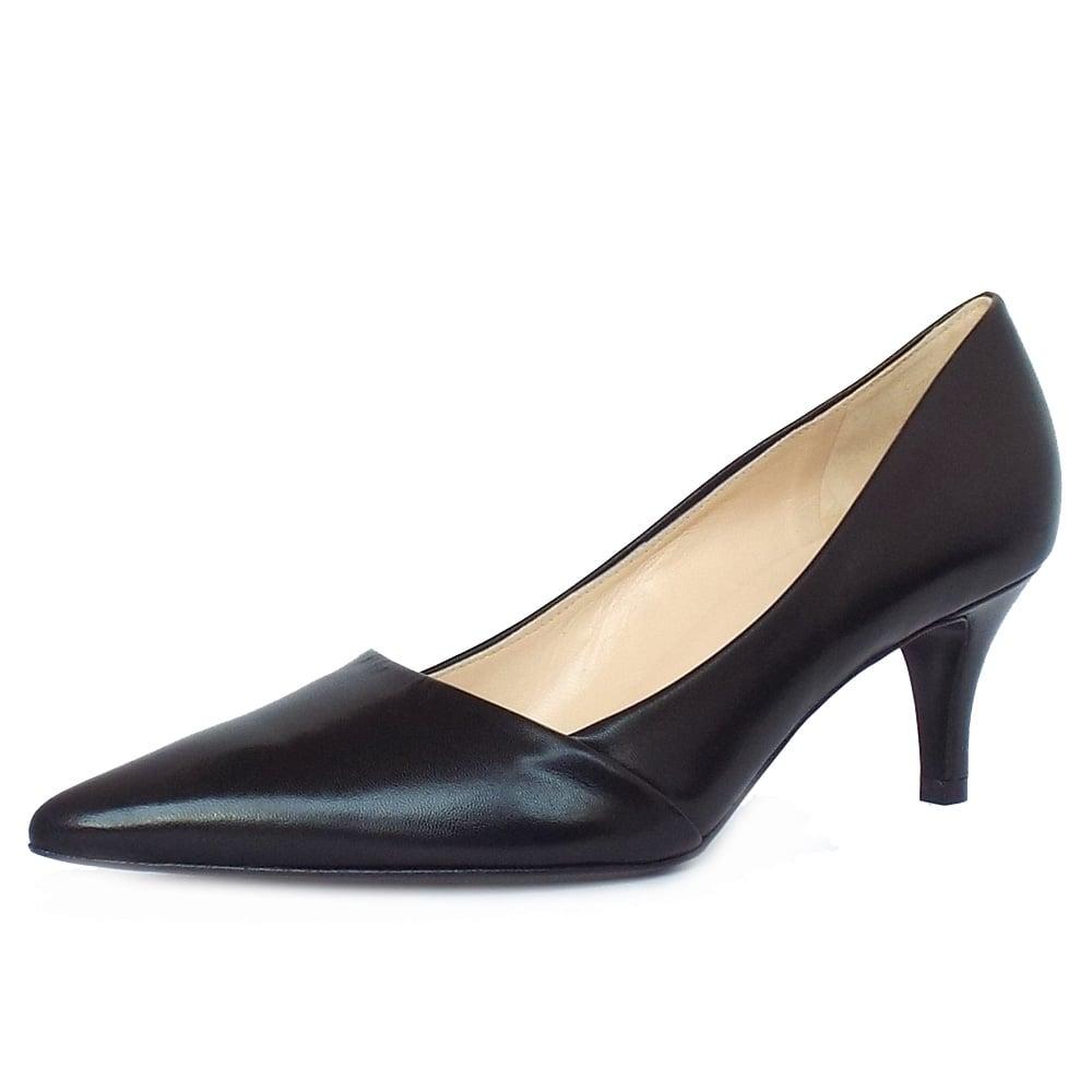 peter kaiser uk semitara black leather mid heel pumps pointy toe. Black Bedroom Furniture Sets. Home Design Ideas