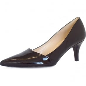 Semitara Black Crackle Patent Pointed Toe Pumps