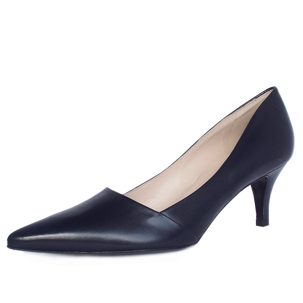 8080c9ff7c886 Peter Kaiser UK | Semitara | Navy Leather Mid Heel Pumps | Pointy Toe
