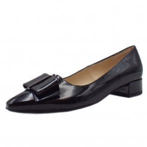 Sera Pointed Toe Low Heel Courts in Black Lack