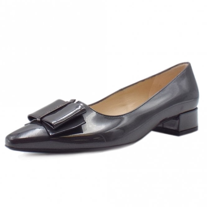 Sera Pointed Toe Low Heel Courts in Carbon Mura