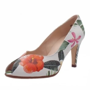 Sevilia Multi Tropic Leather Peep Toe High Heel Pumps