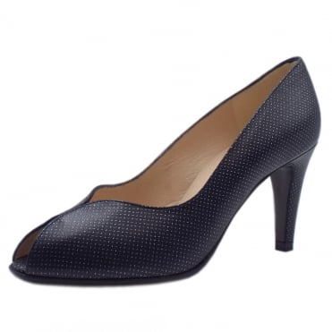 Sevilia Notte Pin Leather Peep Toe High Heel Pumps
