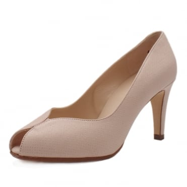 Sevilia Powder Pin Leather Peep Toe High Heel Pumps