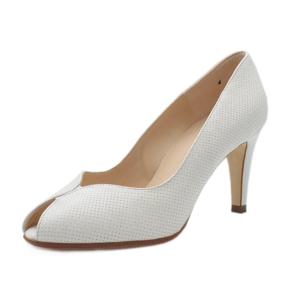 peter kaiser uk sevilia white pin leather high heel peep toe pumps. Black Bedroom Furniture Sets. Home Design Ideas