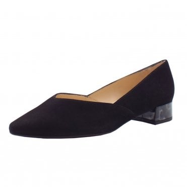 Shade-A Chic Low Heel Court Shoes in Black Suede Iron