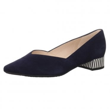 Shade-A Chic Low Heel Court Shoes in Notte Suede