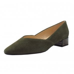 Shade-A Chic Low Heel Court Shoes in Pine Suede
