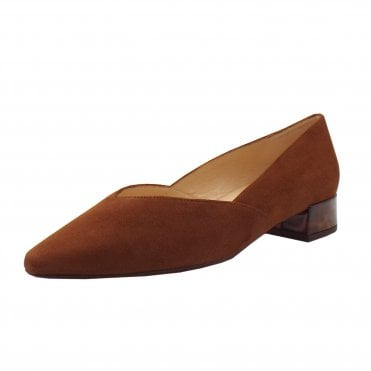 Shade-A Chic Low Heel Court Shoes in Sable Suede