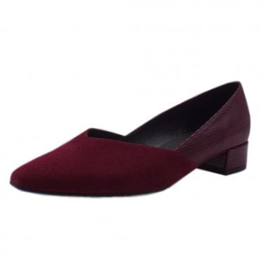 Shade Chic Low Heel Court Shoes in Jam Suede