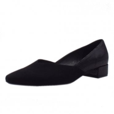 Shade Stylish Low Heel Court Shoes in Black Suede Pepita