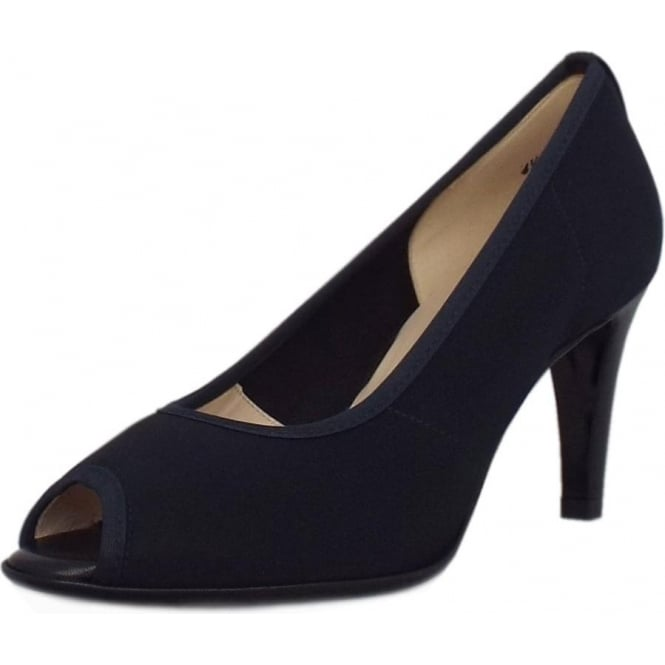 Sibylle Notte Navy Stretch Fabric Peep Toe Mid Heel Pumps