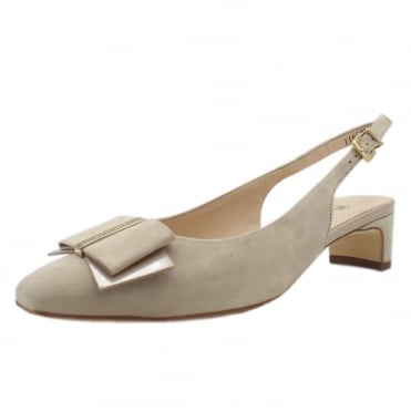 Silia Sand Suede Sling Back Pumps