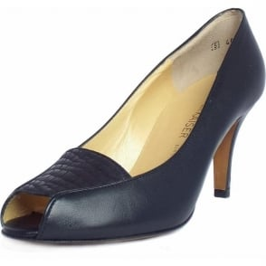 Skerzo Leather Open Toe Shoe in Navy