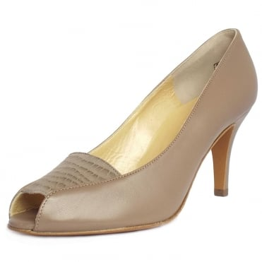 Skerzo Leather Open Toe Shoe in Taupe