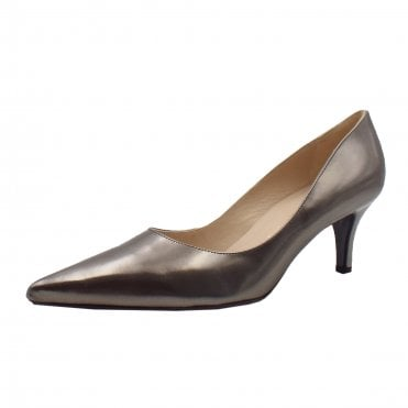 Soffi Dressy Pointy Toe Mid Heel Pumps in Pewter