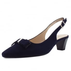 Sofie Navy Suede Sling Back Pumps