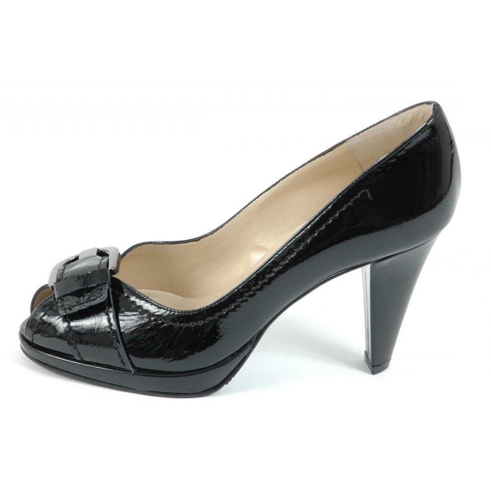 peter kaiser sonna high heel peep toe pumps in black patent peter kaiser uk. Black Bedroom Furniture Sets. Home Design Ideas